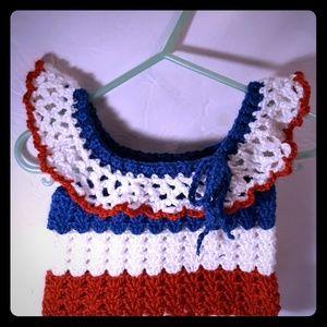 4th of July handmade crochet baby girl top size 2